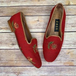 Zalo Needlepoint Smoking Loafers Flower Pattern
